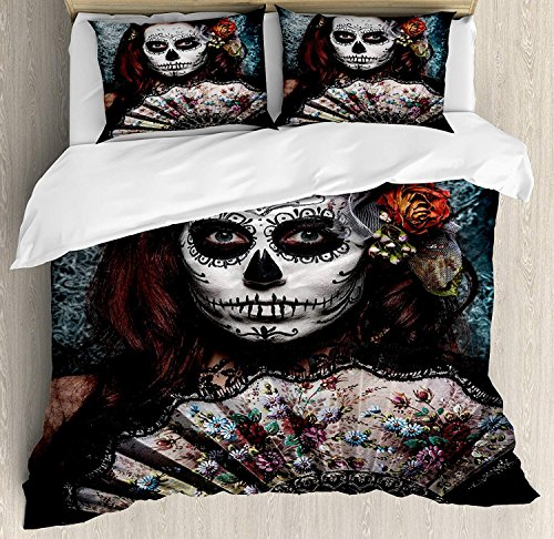 Day of The Dead Luxury Brushed Microfiber Duvet Cover Set, Queen - Ultra Soft, Hypoallergenic Bedding Set, Machine Washable, Make up Artist Girl with Dead Skull Scary Mask Roses Artwork Print -
