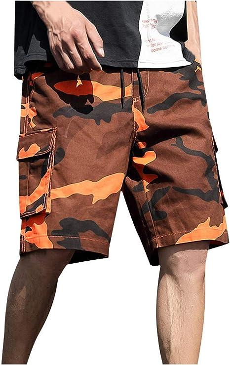 Short Pantacourt /à la Taille Hommes de la Mode des Hommes Casual Poche Salopette Shorts Cordon de Serrage Pantalon Cargo Respirant l/âche Shorts de Sport