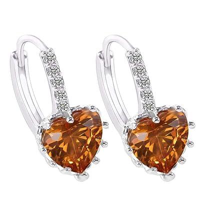 Gahrchian Rhinestones Earrings Stud Swarovski Crystal Pendant Earrings Stud for Women and Girls Gift Jewelry (Khaki): Clothing