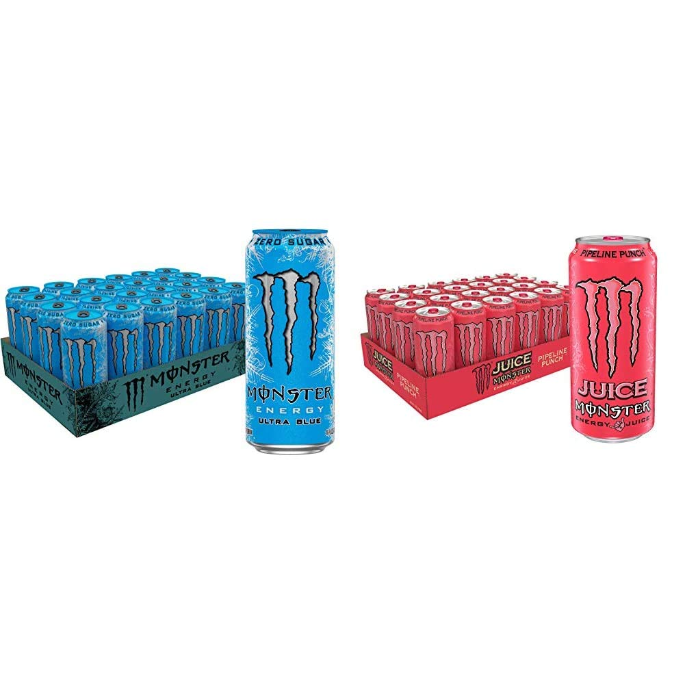 Monster Energy Ultra Blue, Sugar Free Energy Drink, 16 Ounce (Pack of 24) & Juice, Pipeline Punch, 16 Ounce (Pack of 24)