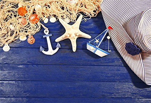 LFEEY 10x8ft Dark Blue Wood Board Backdrop for Photography Nautical STYL Anchor Starfish Rope Seashells Stripes Hat Photo Background Kids Boy Men Birthday Party Events Decoration Photo Studio Prop