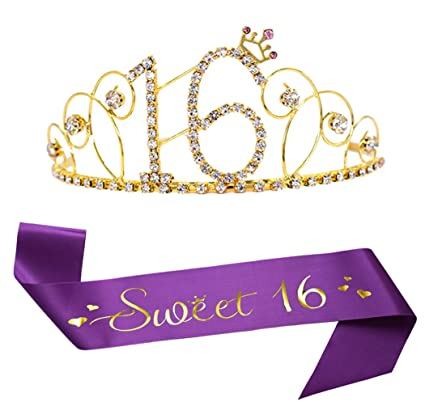 16th Birthday Tiara And Sash Glitter Satin Sash Sweet 16 And Gold Crystal Rhinestone Birthday Crown For Happy 16th Birthday Party Supplies
