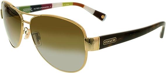 6e5893b71fe9 Amazon.com: Coach Womens Kristina Sunglasses (HC7003) Gold/Brown Metal -  Polarized - 59mm: Coach: Clothing