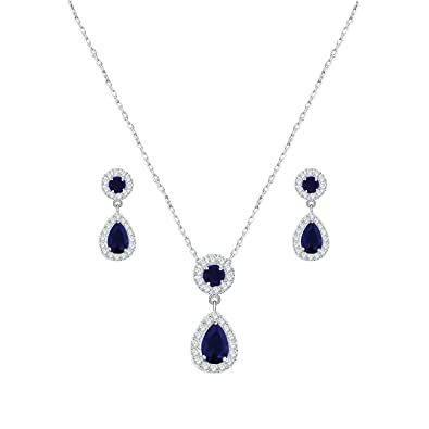 YAZILIND Women Wedding Jewellery Deep Blue Crystal Rhinestone Droplets Necklace Earrings Party Set 9nijlXYHCq