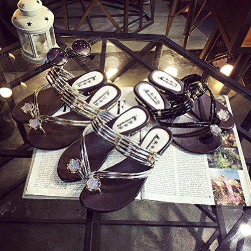 Flache Flache Flops 1 Clode® Sandalen Sommer Thong Knöchelriemen Schuhe Silber Frauen Ferse Strass Sandalen Flip Paar Sandalen Y4gT4wq