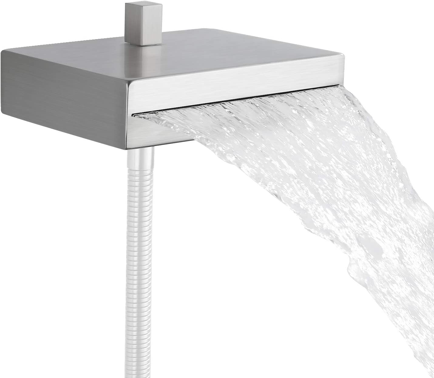 KES Bathtub Faucet with Shower Diverter Waterfall Tub Faucet Wall Mounted Bathtub Spout Stainless Steel Brushed Finish, PSN9B-BN