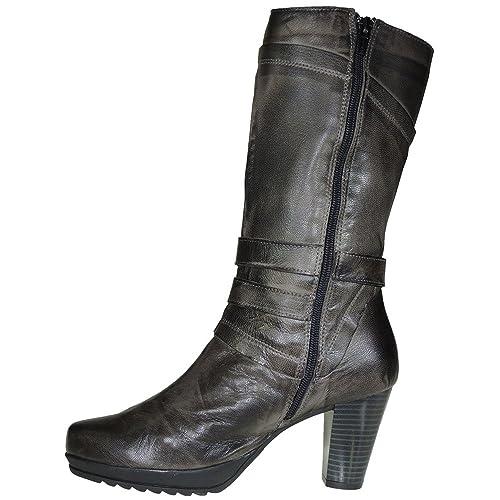 38efeeba4 Jam i1510RK Bota Media Caña Mujer Piel Plataforma Tacón de 8CM Cremallera   Amazon.es  Zapatos y complementos