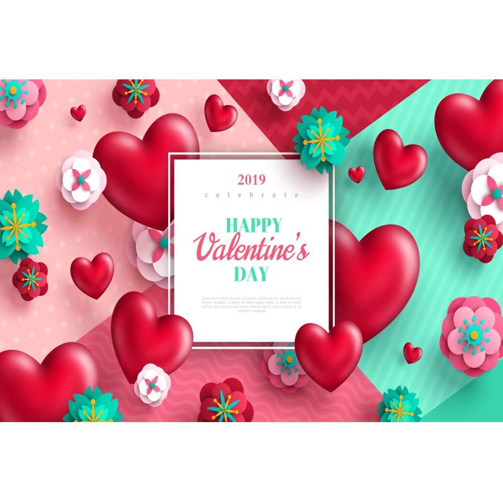 Yeele 7x5フィートビニール写真背景幕 2019年のバレンタインデーをテーマにしたパーティー背景 写真用 赤いハート紙 花 子供 赤ちゃん 大人 写真ブース撮影 ビニールスタジオ小道具   B07L88BT9L