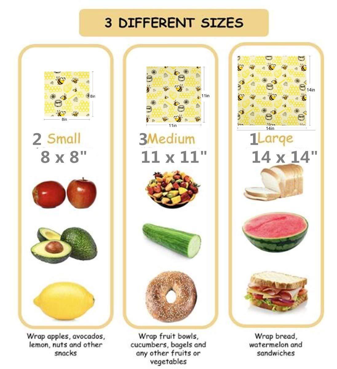 Beeswax Warp Wachspapier, 6er Set Wiederverwendbare Bienenwachstücher Bio Bienenwachs Lebensmittelverpackung Ve