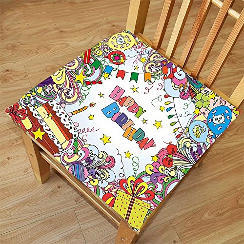 Nalahome Set of 2 Waterproof Cozy Seat Protector Cushion Birthday Decorations Greeting Card Inspired Artwork Colorful Cartoon Style Festive Party Multicolor Printing Size (Artwork Polyester Lace)