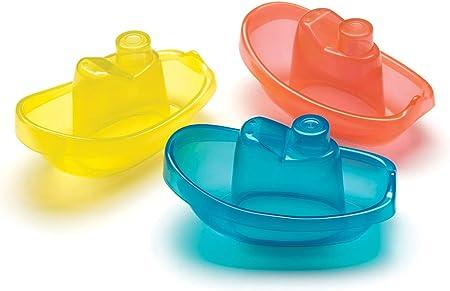 Playgro Barquitos Flotantes, 3 piezas, Sin BPA, Desde los 6 Meses, Bright Baby Boats, Azul/Rojo/Amarillo, 40146 (0183454)