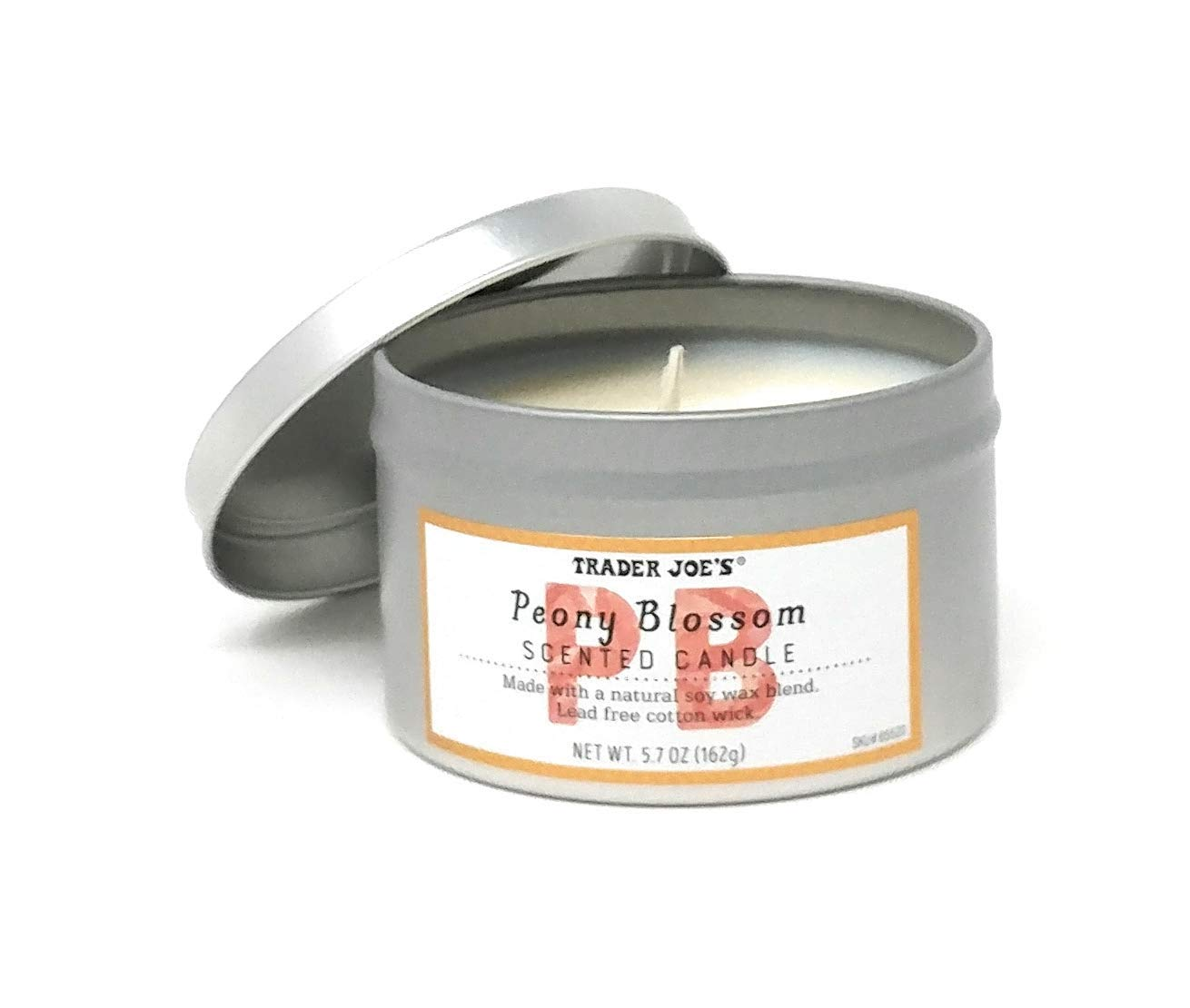 Trader Joes Peony Blossom Scented Candle Soy Wax Lead Free Wick 5.7 oz (1)