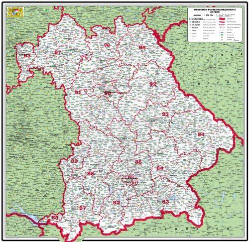 Amazon De Xxl Bundeslanderkarte Bayern Mit Postleitzahlen