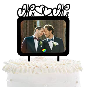 Mr And Mr Same Sex Gay Wedding Cake Topper - Valentine's Day Homosexual Wedding Party With Photo Frame Cake Décor - Wedding Anniversary Insert Pictures Decoration