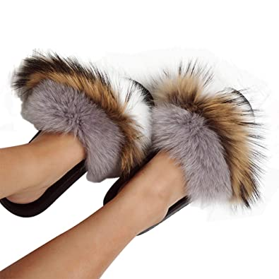 ce760555e335 Patchwork Genuine Raccoon Fur Slippers Women Summer Street Puffy Indoor  Sandals Outdoors Real Fur Flats Woman