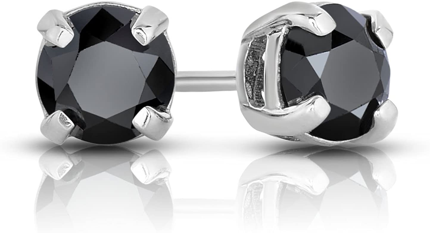 NATALIA DRAKE Sterling Silver Black Diamond Solitaire Classic 4 Prong Stud Earrings for Men or Women in Sterling Silver (Color Black/Clarity SI2-I1)