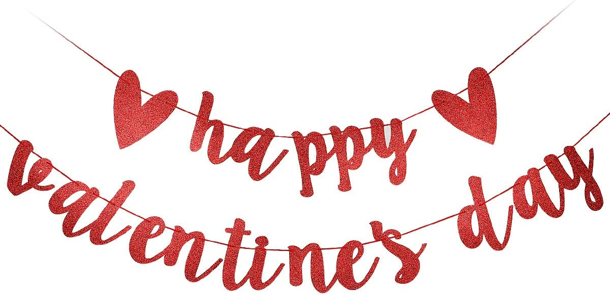 Red Glittery Happy Valentine's Day Banner- Valentine's Day Party Decorations Ornaments,Home Decor Ornaments