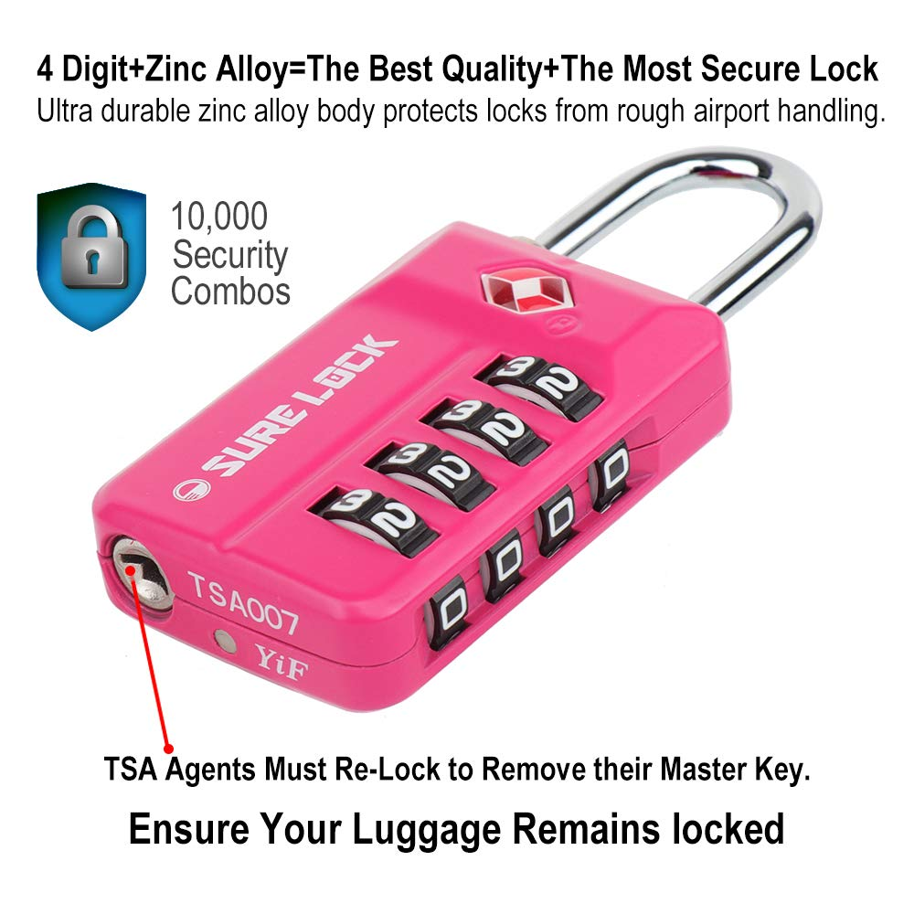 SURE LOCK TSA 4 Digit Compatible Travel Luggage Locks, Inspection Indicator, Easy Read Dials- 1, 2 & 4 Pack by SURE LOCK (Image #5)