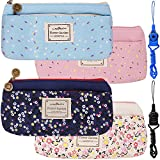 4 Pack Flower Floral Canvas Pen Pencil Cases Makeup Bags, FineGood Stationery Pouch Holders with Double Zippers for School Students Kids, with 2 Hang Ropes - Dark Blue, Light Blue, Pink, Cream