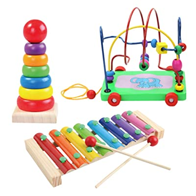 NUOBESTY Music Percussion Toy Stacking Building Toy Wood Bead Toy for Kids Home Kindergarten Early Educational Toy: Toys & Games