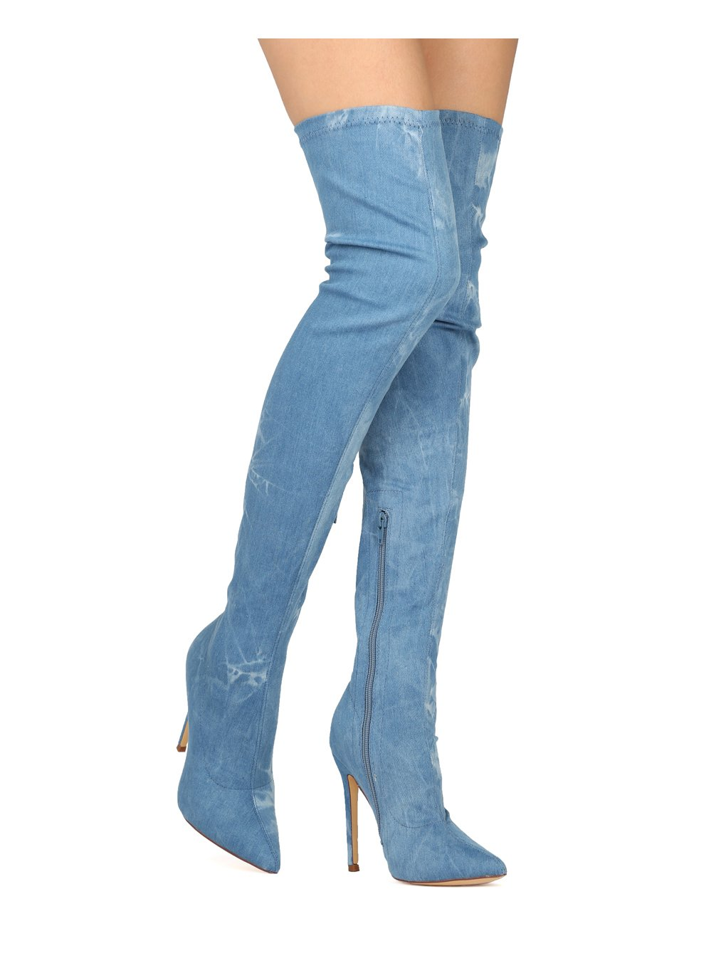 Liliana Women Thigh High Pointy Toe Stiletto Boot HE09 - Washed Denim (Size: 9.0)