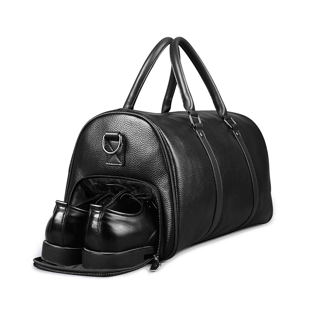 TopWigy Travel Duffel Genuine Leather Handbag Weekender Bag Shoulder Bag with Shoes Pouch (Black) by TopWigy