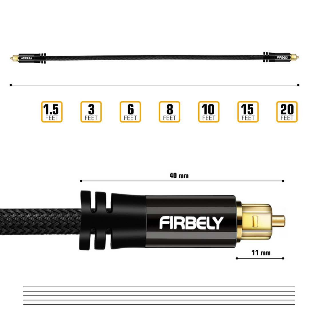 FIRBELY Digital Optical Audio Toslink Cable Male to Male 24K Glod Plated Metal Connectors and Braided Jacket 20 feet