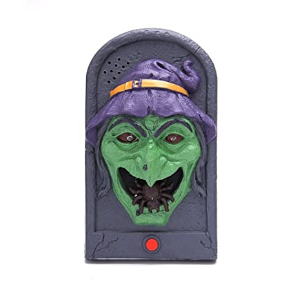 halloween witch door decorating ideas door hanger halloween witch doorbell light up eyeball talking scary sounds for party bar door decorations kids gift amazoncom