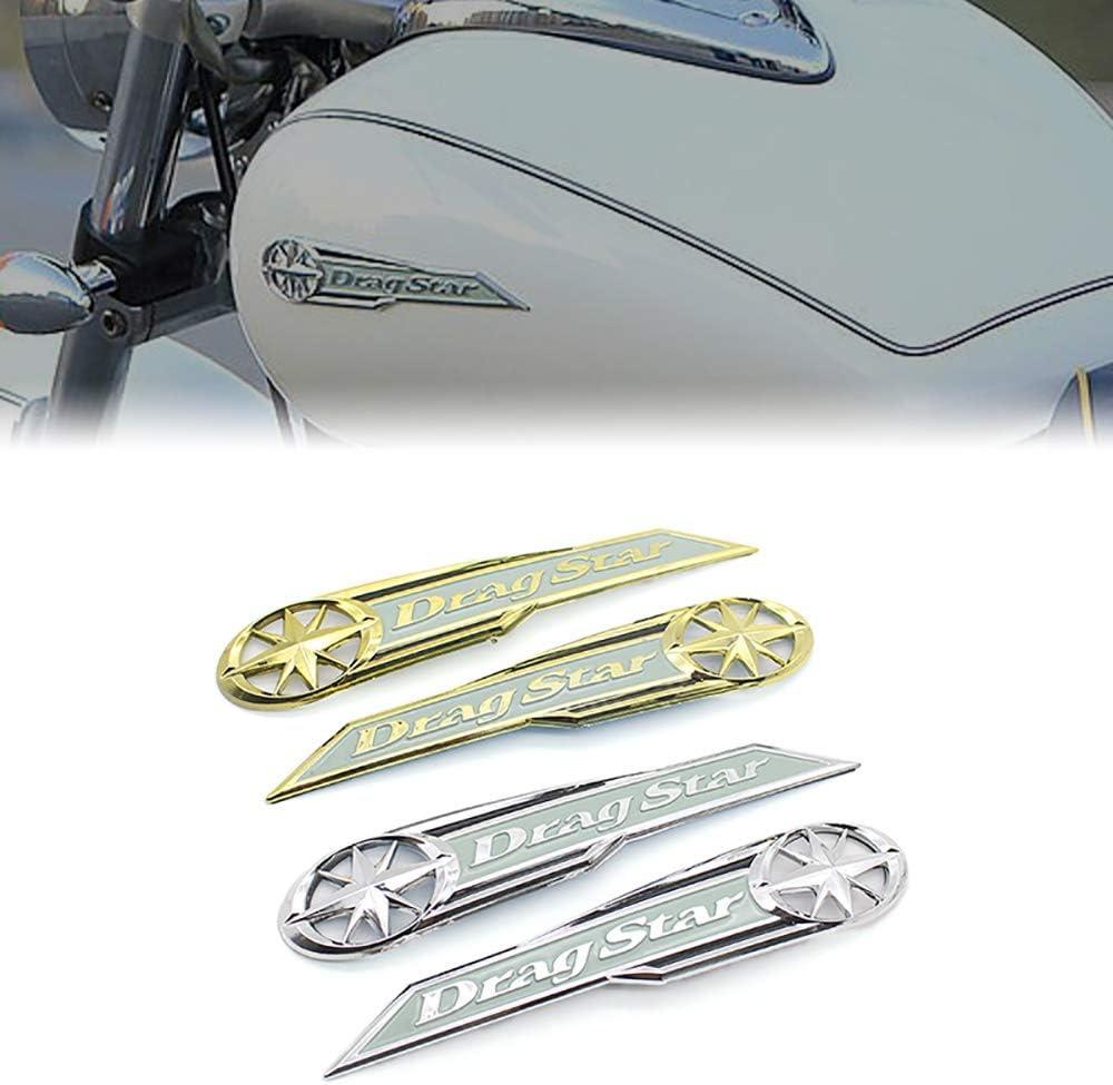 LIWENCUI Moto distintivo dellemblema della decalcomania del serbatoio di combustibile Sticker rilievo del carro armato della decalcomania della protezione for Yamaha Dragstar Vstar XV XVS400 650 110