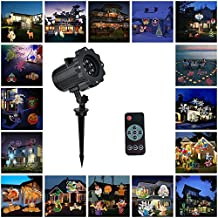 Christmas Lights Projector, Guaiboshi LED Landscape Lights Lamp with 16 Slide Show Pattern for Halloween Wedding Birthday Party Garden Decorations with Remote Control