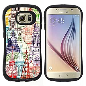 "Hypernova Slim Fit Dual Barniz Protector Caso Case Funda Para Samsung Galaxy S6 [Dibujado Iglesias pluma mano del arte""]"