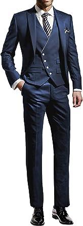 Suit Me Traje De 3 Piezas Para Hombre Corte Ajustado Para Bodas Fiestas Smoking Traje Chaleco Pantalones Amazon Es Ropa Y Accesorios