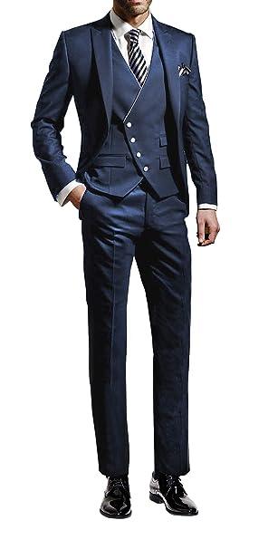 Suit Me Hombres 3 piezas juego delgado fiesta de bodas en forma trajes de esmoquin de chaqueta, chaleco, pantalones