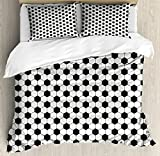 Soccer Queen Size Duvet Cover Set by Ambesonne, Abstract Football Ball Pattern Monochrome Geometric Design Sports Fun Activity, Decorative 3 Piece Bedding Set with 2 Pillow Shams, Black White