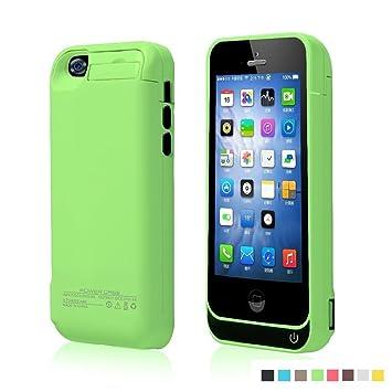 Funda Batería Extra 4200Mah para iPhone 5/5S/5C Cargador Batería External Recargable Carcasa Protectora de Noza tec - Verde