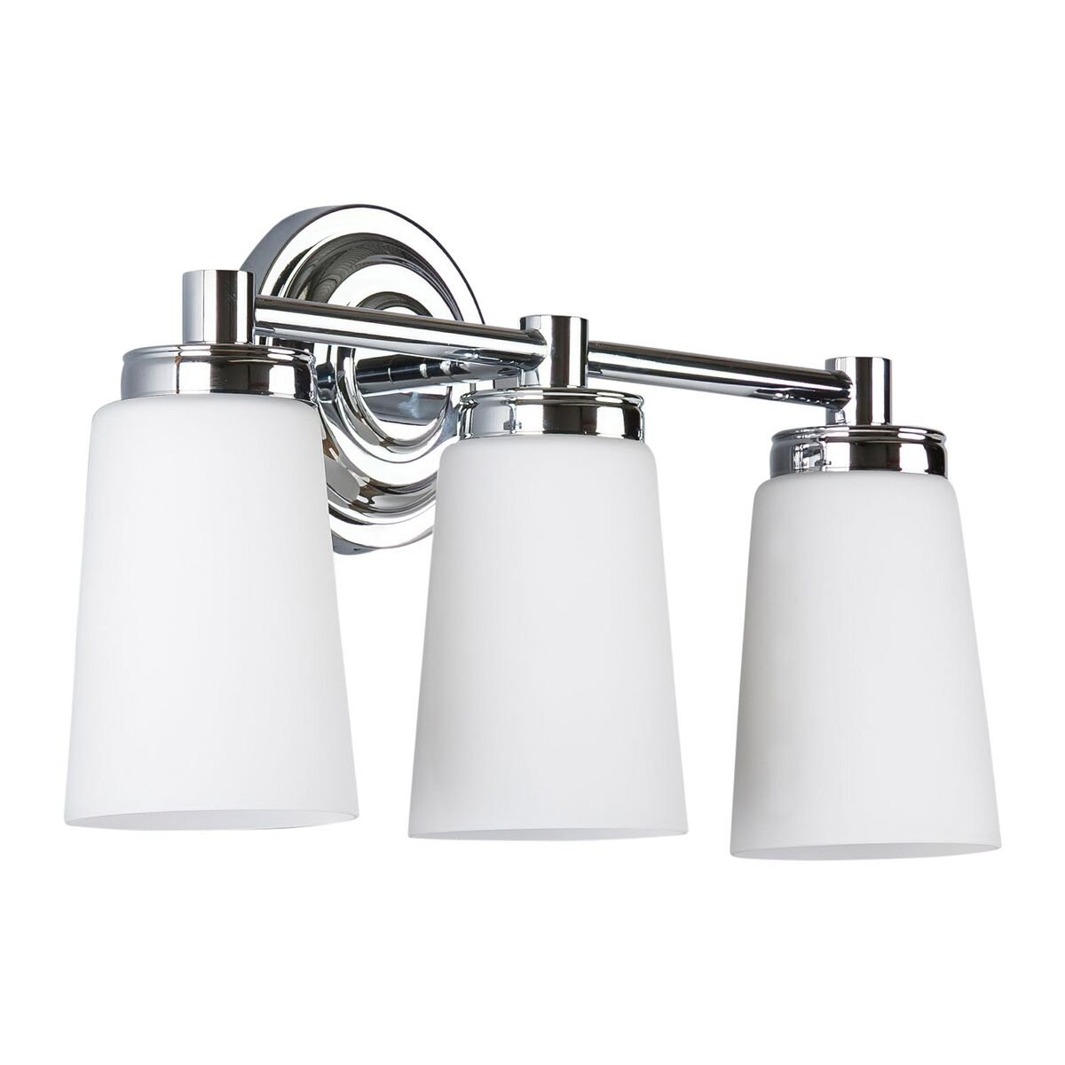Sheffield 3 Light Bathroom Vanity Chrome w Frosted Glass Linea di Liara LL-WL260-3-PC