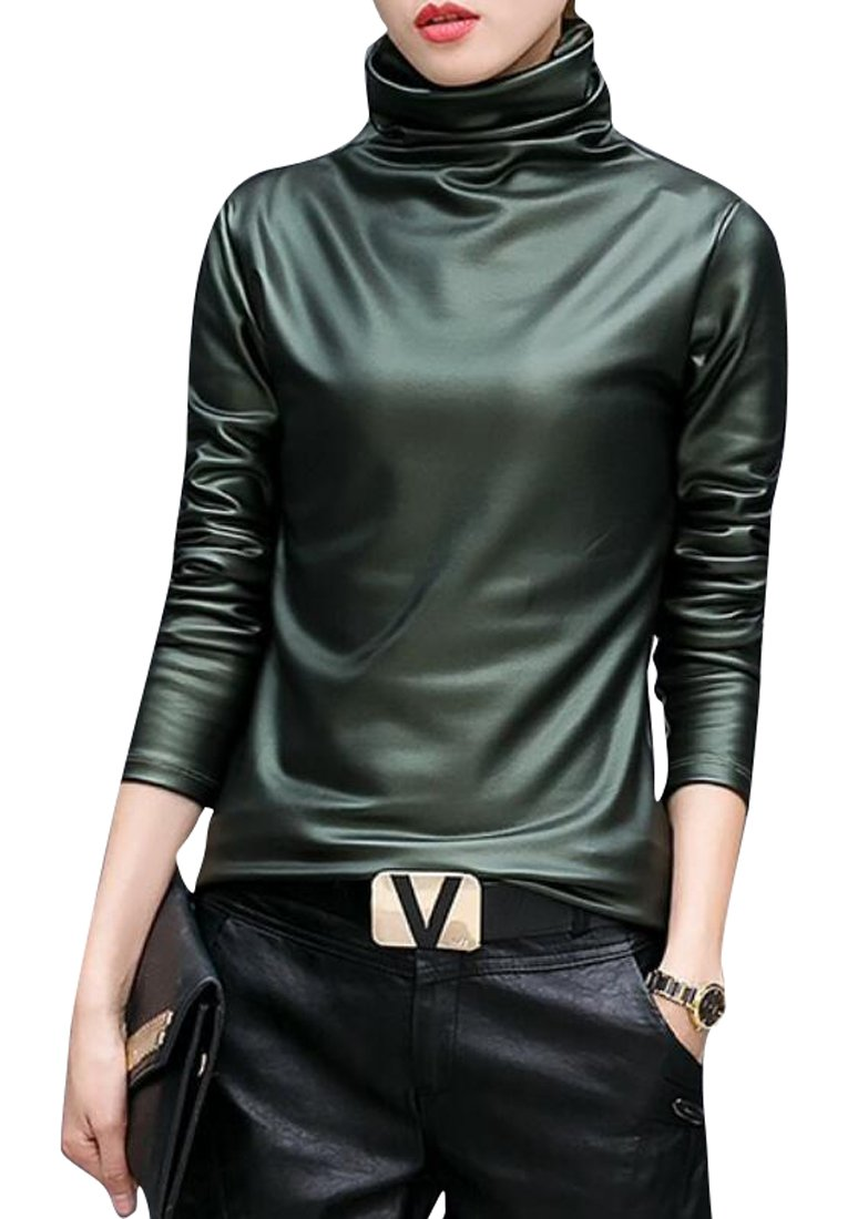 SELX Womens Faux Leather Turtleneck Tops Long Sleeve Blouse T-Shirt Green US M