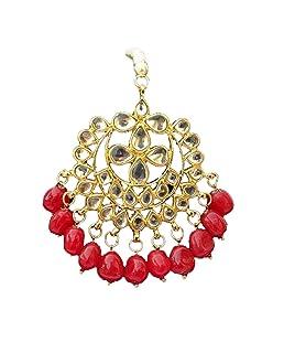 Finekraft Red Meena Kundan Bridal Tikka Jewelry Set for Women