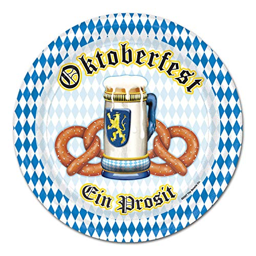 Beistle 2018 Oktoberfest EIN Prosit Dinner Plates   9 Inches   (Party Pack: 24 Count)