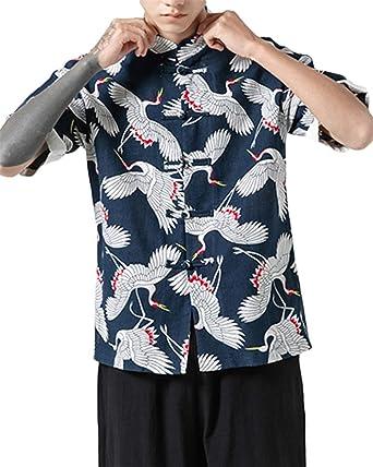 GUOCU Hombres Vintage Japonés Kimono Camisa Haori Estampado Casual Holgado Cárdigan Camiseta: Amazon.es: Ropa y accesorios