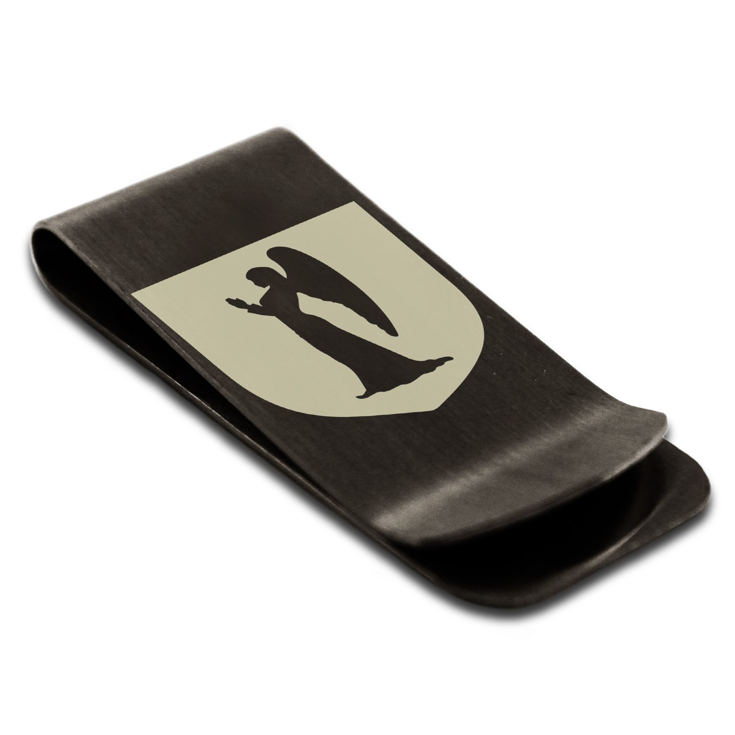 Matte Black Stainless Steel Angel Divinity Coat of Arms Shield Symbol Engraved Money Clip Credit Card Holder by Tioneer (Image #1)