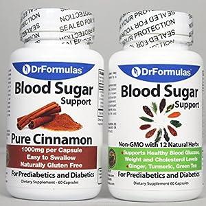 DrFormulas Blood Sugar Support 2 Pack Diabetes & Prediabetes Health Supplements for Glucose, Insulin & Cholesterol with Cinnamon, Turmeric, Green Tea, Ginger, Vitamins Herbs Pills/Capsules