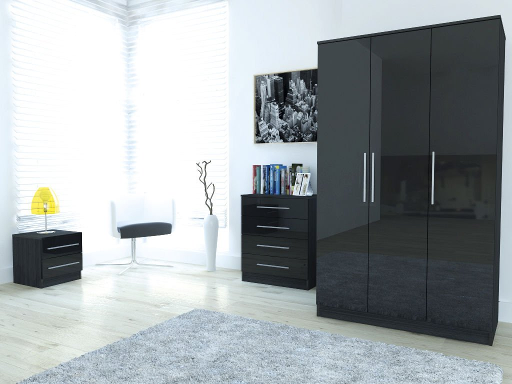 Toronto Caspian Black or White High Gloss Bedroom Furniture Complete ...
