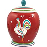 9 Inch Speckled Spectrum Decorated Rooster Collectible Canister