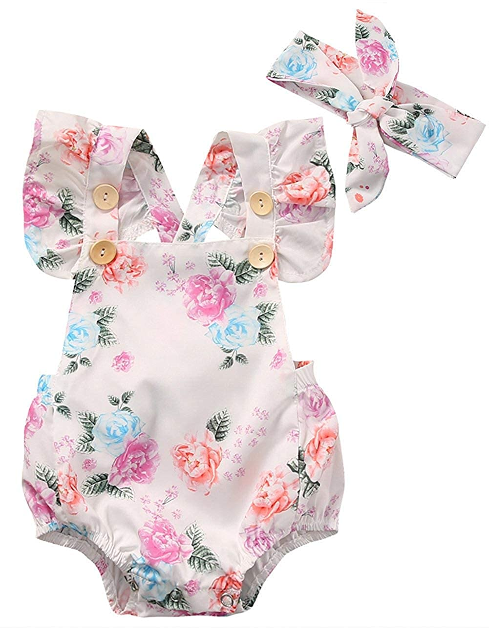 douleway Baby M/ädchen Voll Blumendruck Kn/öpfe R/üschen Strampler Bodysuit mit Stirnband 0-18M