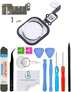 OmniRepairs Home Button Flex Cable Replacement with Rubber Gasket Compatible for iPhone 6 and iPhone 6 Plus with Screws (2) and Repair Toolkit (Silver)