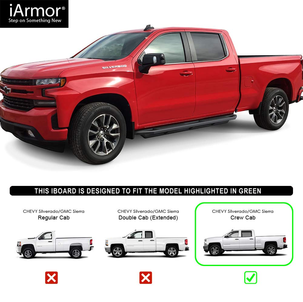for 2019-2020 Chevy Silverado GMC Sierra 1500 Crew Cab | Nerf Bars | Side Steps | Step Bars Black Powder Coated Running Board Style APS iBoard Running Boards