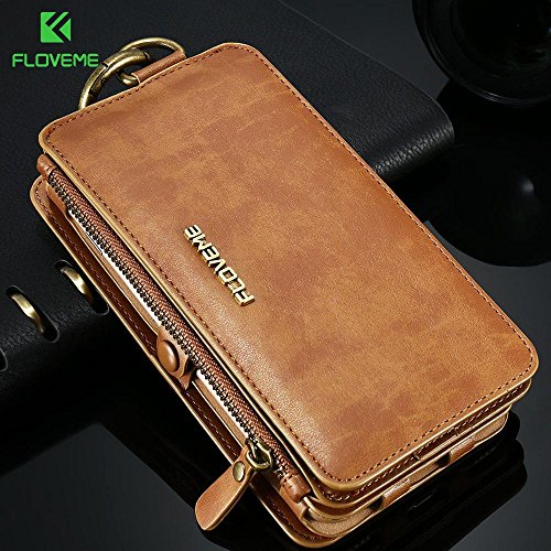 FLOVEME Luxury Retro Wallet Phone Cases For iPhone 7 6 6s Plus Cover Leather Handbag Bag Cover for iphone X 7 6 6s 5S Case Coque (Brown/China/for iPhone 5 5S SE)