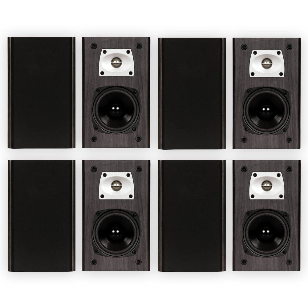Theater Solutions B1 Black Bookshelf Speakers Surround Sound Home Theater Speaker 4 Pair Pack by Theater Solutions