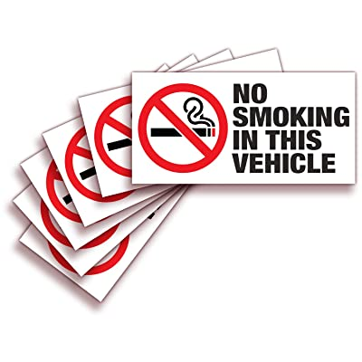 iSYFIX No Smoking Sign Sticker for Vehicles & Cars – 6 Pack 3x1.5 inch – Premium Self-Adhesive Vinyl, Laminated Ultimate UV, Weather, Scratch, Water Fade Resistance, Indoor & Outdoor: Automotive